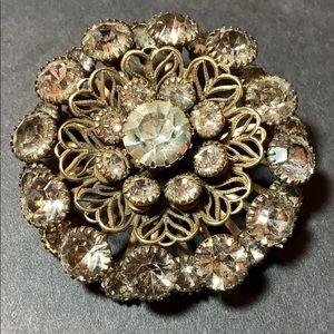 Vintage Filigree Layered Multi Stone Brooch Pin